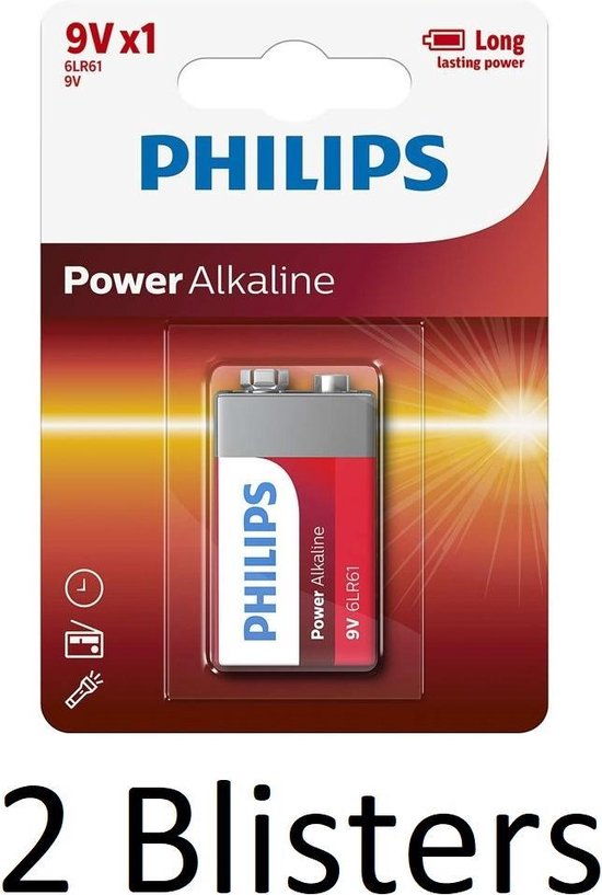 2 Stuks (2 Blisters a 1 st) Philips Power Alkaline batterij 9V