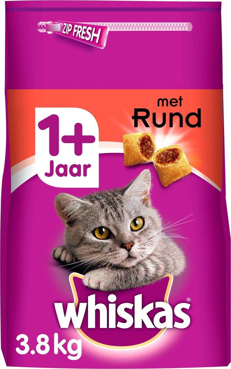Whiskas 1+ Adult Droge Brokjes - Rund - Kattenvoer - 3,8 kg