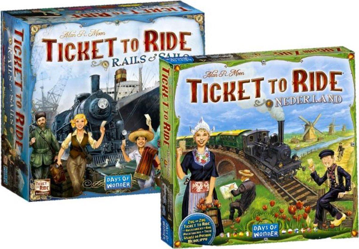 Spellenbundel Days of Wonder bordspel Ticket to Ride Uitbreidingsset - Rails & Sails & Ticket to Ride - Nederland