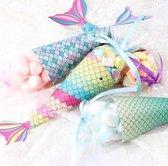 WiseGoods - Zeemeermin Traktatie doosjes - Uitdeeldoosjes Kinderfeestje - Zakjes - Snoep Doos - Papier - 12 Stuks