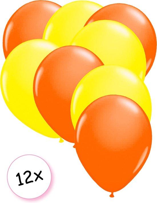 Ballonnen Neon Oranje & Neon Geel 12 stuks 25 cm