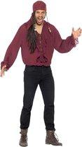 SMIFFYS - Luxe bordeaux rode piraten blouse voor mannen - L - Volwassenen kostuums