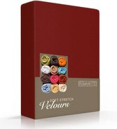 Luxe Hoeslaken Velours - Bordeaux - 140x200 cm - Velours - Romanette