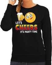 Funny emoticon sweater lets Cheers its party time zwart voor dames -  drank / biertje - Fun / cadeau trui 2XL