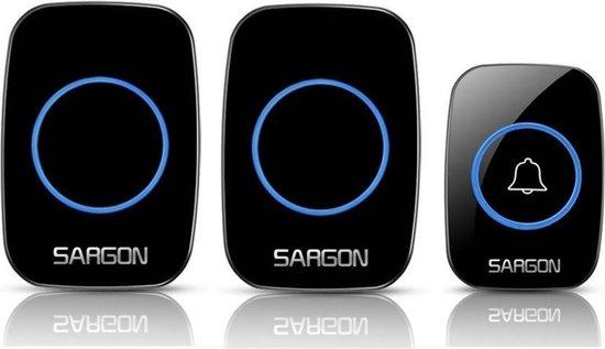 Sargon Draadloze Deurbel met 2 Ontvangers - Deurbel Draadloos - Draadloze Deurbel - Plug&Play - Regelbaar Volume / Melodie - Oplichtende LED's - Zwart