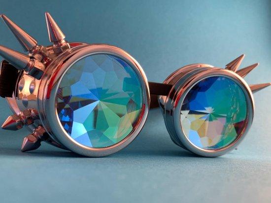 Spacebril Goggles + Spikes Zilver | Kaleidoscoop Goggles + Spikes Zilver | Caleidoscoop Goggles + Spikes Zilver