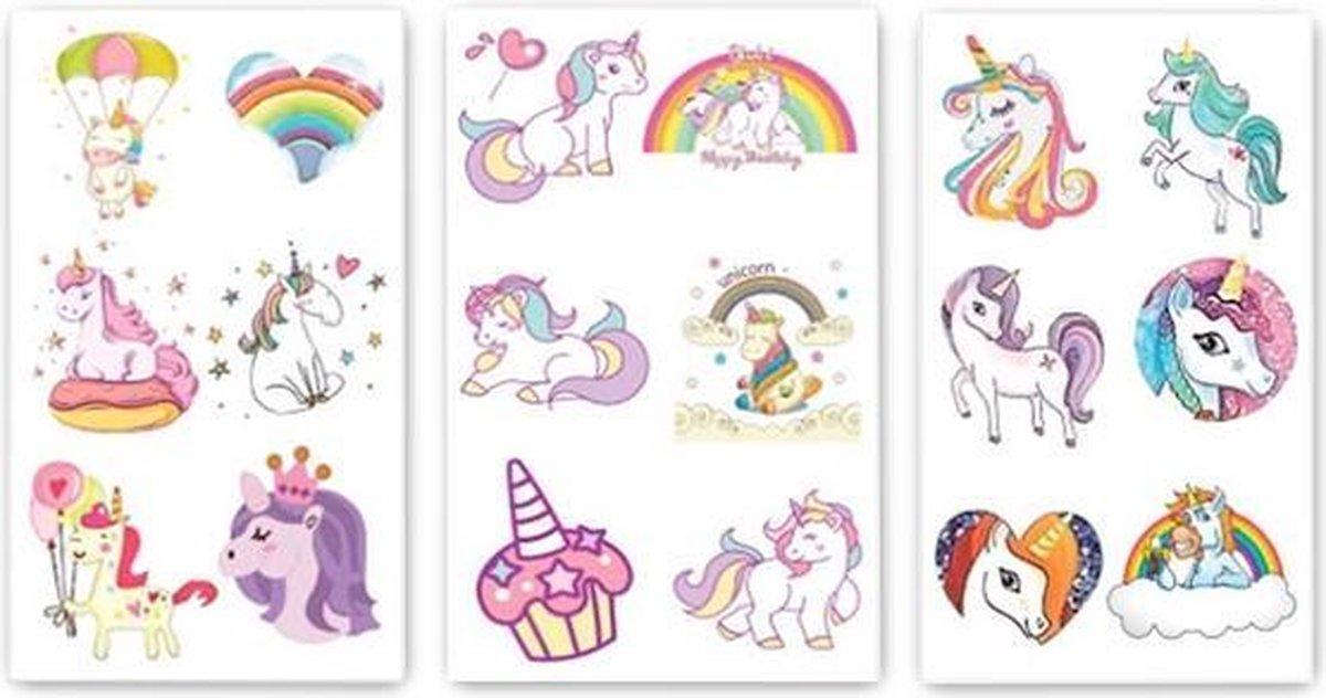 Plak Tattoos - Plaktattoos Voor Meisje - 54x - Plaktattoo Unicorn - Tattoos Kinderen