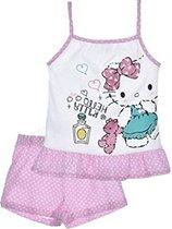 """Hello Kitty - 2-delige Topje-set - Model """"Ready For Bed"""" - Roze & Wit - 116 cm - 6 jaar"""