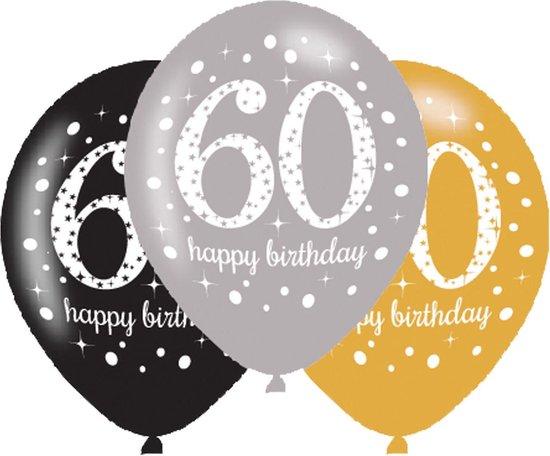 Ballonnen 60 Jaar Happy Birthday 27,5cm 6st