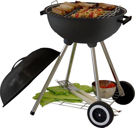 Garden Grill Houtskool Barbecue - Grilloppervlak Ø 44 cm - Met As Vanger - Zwart