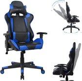 Gamestoel Thomas - bureaustoel racing gaming - ergonomisch - zwart blauw