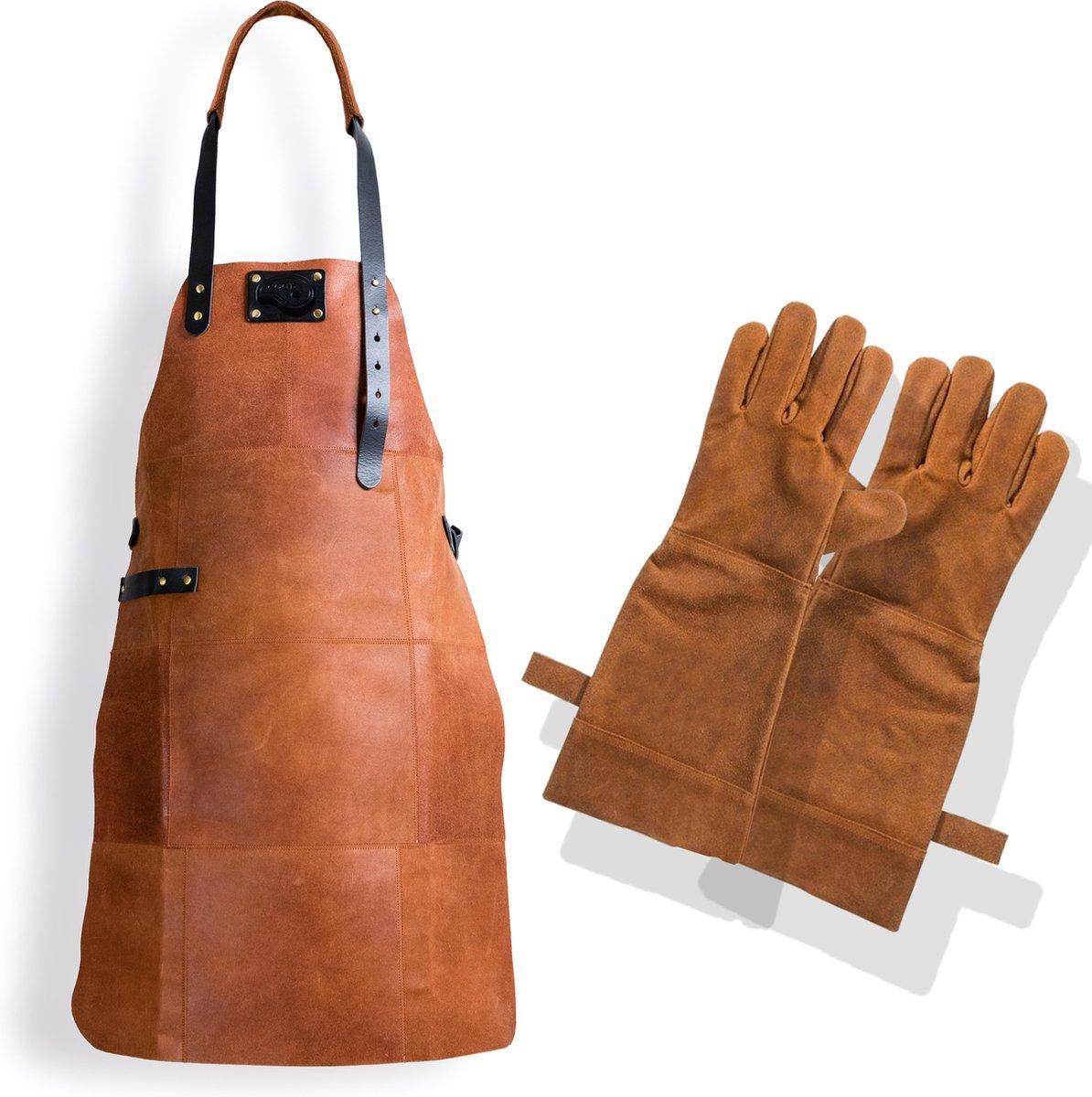 Leren Schort + Leren Handschoenen - Lederen Schort – LICHT BRUIN (Cognac) - Kokschort - BBQ Schort -