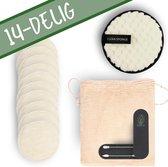 Herbruikbare Wattenschijfjes van Eureco! | Inclusief 10 Wasbare Wattenschijfjes | Wit | 2 Herbruikbare Wattenstaafjes | Make-Up Spons | Waszakje