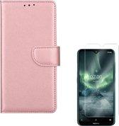 Nokia 7.2 Portemonnee hoesje Rose Goud met 2 stuks Glas Screen protector