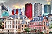 JJ-Art | Den Haag, Hofvijver, Binnenhof, Mauritshuis en rood, wit blauwe kantoorgebouwen met bergen in Popart | Nederland, steden | Foto-Schilderij print op Canvas (canvas wanddecoratie) | KIES JE MAAT
