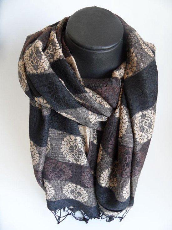 Mooie hippe sjaal figuren lengte 180 cm breedte 70 cm kleuren bruin beige zwart franjes.
