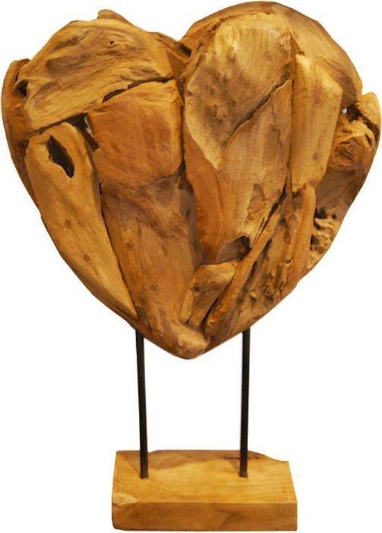 Bol Com Sense Teakhouten Hart Op Voet Houten Decoratie Gerecycled Hout Ornament