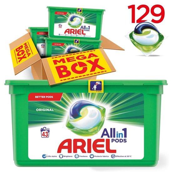 Ariel All-in-1 Pods Original Wasmiddel - Voordeelverpakking 3 x 43 Wasbeurten - Wasmiddel Pods