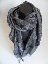 Hippe sjaal figuren lengte 180 cm breedte 70 cm kleuren grijs zwart franjes.