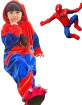 Spiderman onesie Spiderman pak kostuum huispak kinderen 116-122 (120) + klein popje Spider verkleed pak verkleedkleding