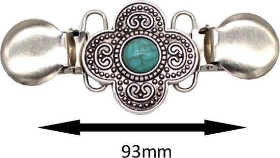 - Vestsluiting - Vestclip - Bloem - Turquoise - Zilverkleurig
