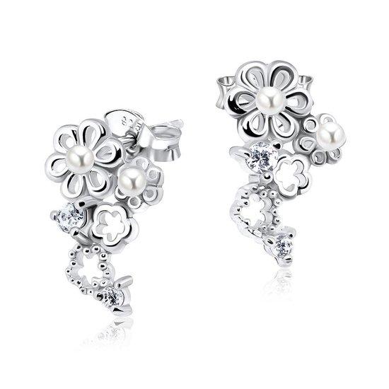Joy S - Zilveren classic Daisy bloem oorbellen parel kristal bruid gala