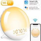 Wake-Up light Wekkerlamp – Wekkerradio - Google Home Kinder Nachtlamp - Smartphone app - Zonsondergang simulatie – FM radio – 7 verschillende kleuren – Natuurgeluiden