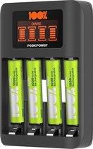 100% Peak Power batterij oplader U412 - Milieubewuste Keuze - USB batterijlader AA&AAA incl. oplaadbare batterijen NiMH batterij AAA 800 mAh