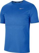 Nike Nk Breathe Run Top Ss Sportshirt Heren - Pacific Blue/Reflective Silv - Maat 2XL