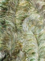 Exclusief luxe behang Profhome 822203 vinylbehang gestempeld met veren glimmend groen loofgroen goud bruingroen 5,33 m2