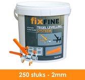 Tegel Levelling Systeem - Nivelleersysteem - Starter Set - 250 stuks – 2mm - PRO