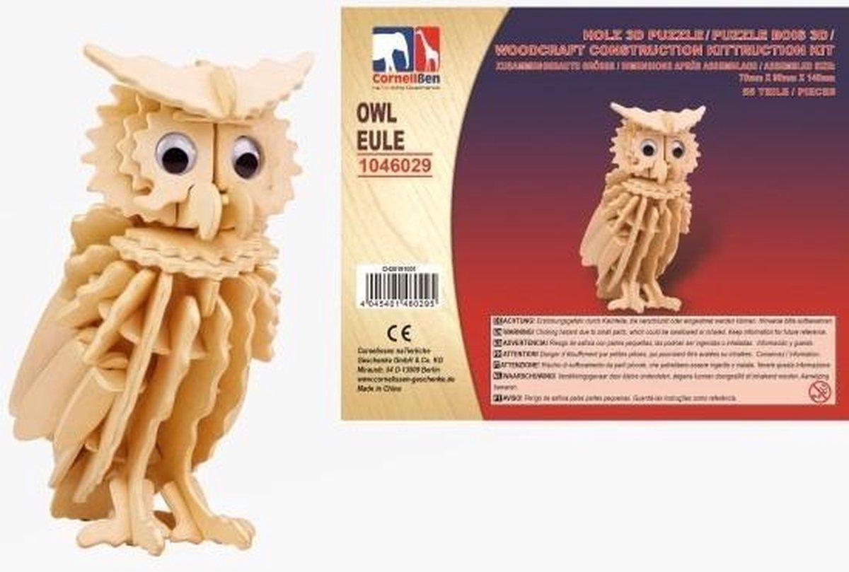 Houten dieren 3D puzzel uil - Speelgoed bouwpakket