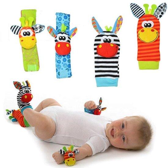 Afbeelding van Baby rammelaar | Baby rammelaar sokjes en rammelaar armbanden|4-delig rammelaar set|Pols- en Voetrammelaar set| 0 t/m 24 maanden | Babyarmband | Babysokken | Babykleding|Pasgeboren baby| Baby gift set speelgoed