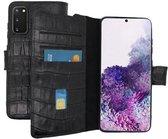 Lelycase Echt Lederen Booktype Samsung Galaxy S20 hoesje - Croco Zwart