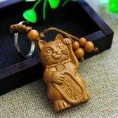 Japanse Gelukskat Maneki Neko sleutelhanger / Geluksbrenger van Welvaart en Voorspoed / Japanese Fortune Cat / Keychain - Hout