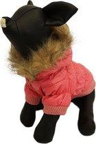 Winterjas voor de hond in de kleur roze met bont randje - XL ( rug lengte 32 cm, borst omvang 40 cm, nek omvang 38 cm )
