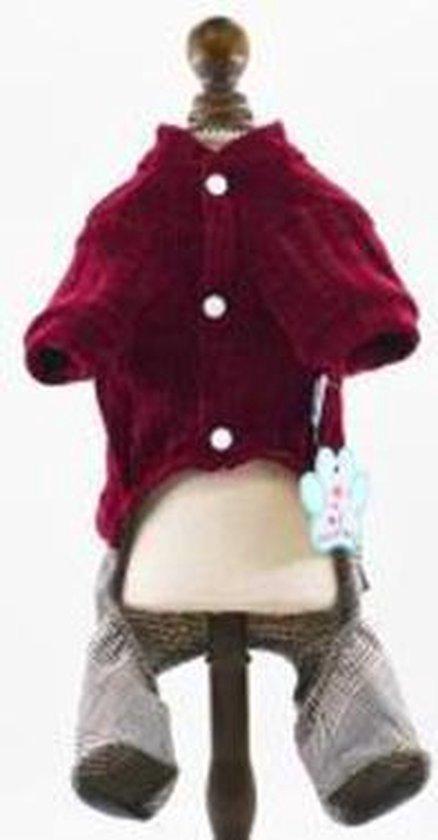 Compleet setje voor de hond trui met broek rood/grijs