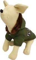 Winterjas voor de hond in de kleur groen met bont randje en print - XS ( rug lengte 20 cm, borst omvang 26 cm, nek omvang 20 cm )