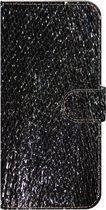 ★★★Made-NL★★★ Handmade Echt Leer Book Case Voor Samsung Galaxy S10e Zwart hoogglans met vierkante vintage print.
