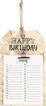 Clayre & Eef | Verjaardagskalender 15*1*25 cm | Bruin | Hout | Vierkant | Happy Birthday | 6H1824
