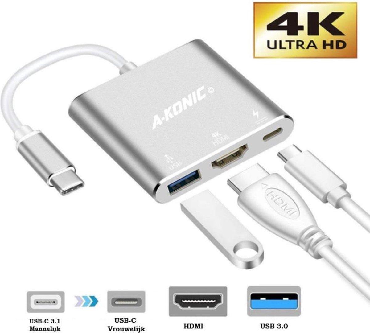 USB-C Hub, 3 in 1 Adapter | USB-C naar HDMI | Zilver | A-KONIC©