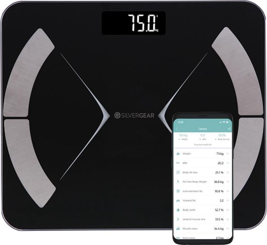 Silvergear - Bluetooth personenweegschaal - Met lichaamsanalyse - Silvergear