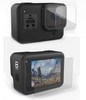 Gehard glas screenprotector voor GoPro Hero 8 Black - Tempered glass - 1x LCD & 1x lens - Bescherming GoPro LCD & lens - 9H gehard glas