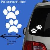 Hondenpootjes / hondenpootje - wit - autosticker - 5,5 x 7 cm - 2 stuks