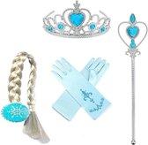Frozen Prinses Elsa 4-delig accessoireset - Toverstaf - Kroon - Blauwe Korte Handschoenen - Elsa Vlecht met Clip