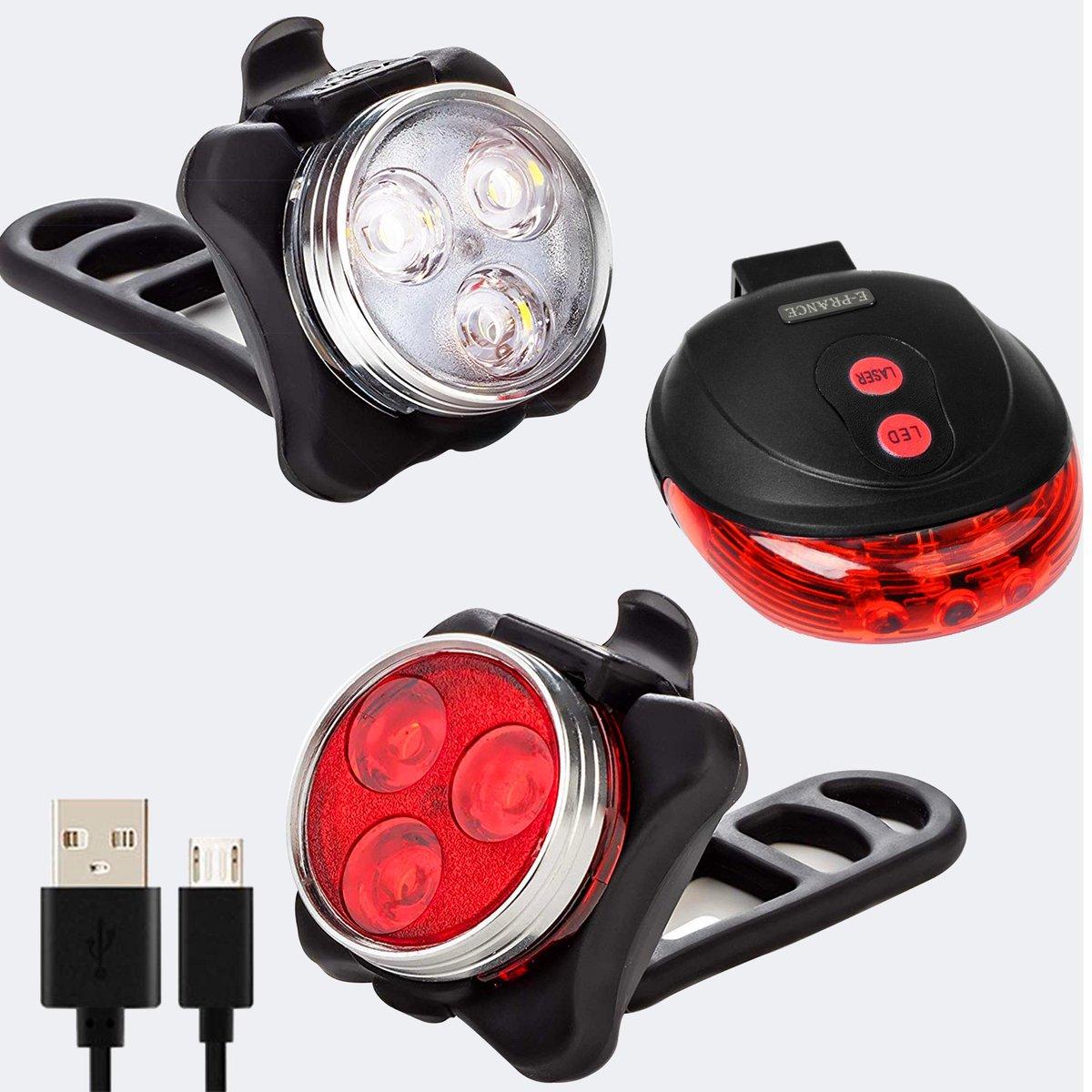 Fietsverlichting - Fietslamp LED Oplaadbaar + Gratis Laserlamp -  Maar liefst 50m bereik!