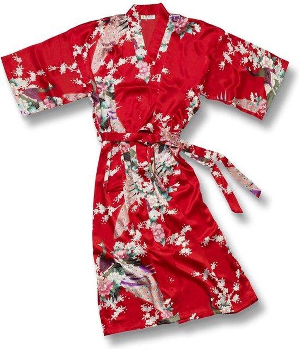 TA-HWA Kimono met Pauw Motief Rood Dames Kimono L