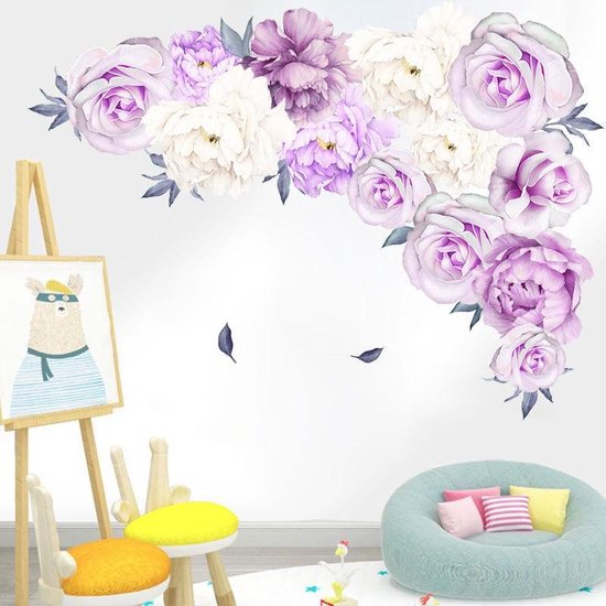 Bol Com Vrolijke Rozen Muursticker Decoratie Sticker Muur Wand Voor Slaapkamer