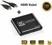 Professional HDMI-splitter 4k 2 poorts – 1x-in 2x-uit – Dupliceert – Ondersteunt alle resoluties + 3D, Inclusief HDMI Kabel