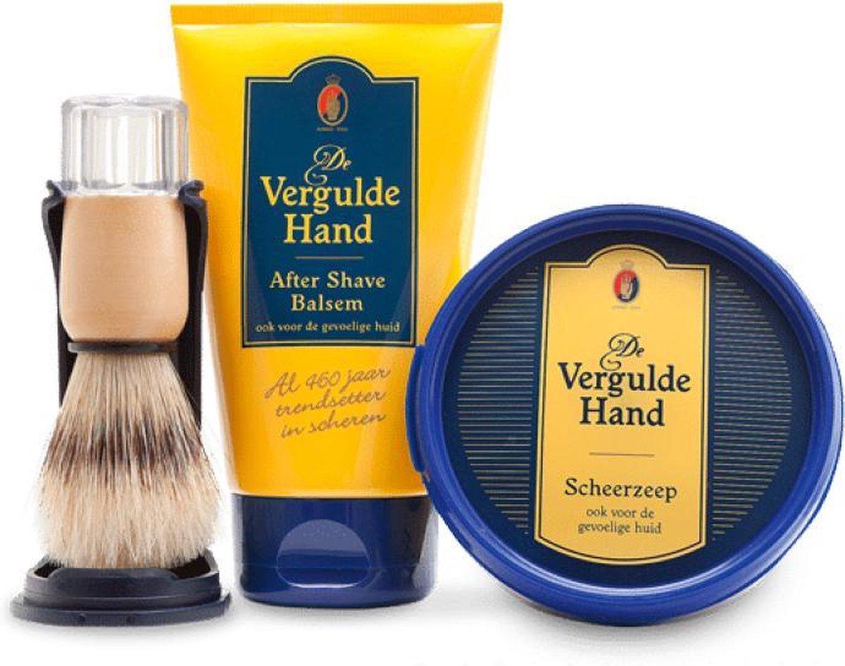 Vergulde Hand 3 Delige Set - After Shave Balsem & Orginele Scheerkwast & Scheerzeep